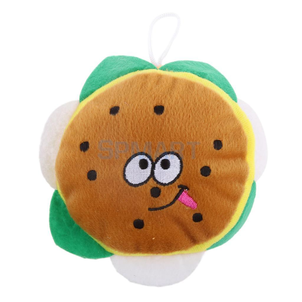 Pet Dog Puppy Cat Play Soft Plush Funny Face Hamburger Shape Squeaker Squeaky Sound Chew Toys