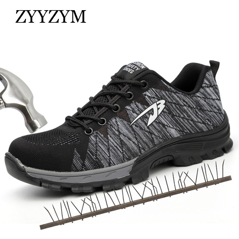 ZYYZYM Men Work Safety Shoes Steel Toe Cap Casual Shoes Men Non-slip Puncture Outdoor Boots new exhibition fashion safety shoes men outdoor steel toe cap anti puncture boots lightweight and breathable casual work shoes