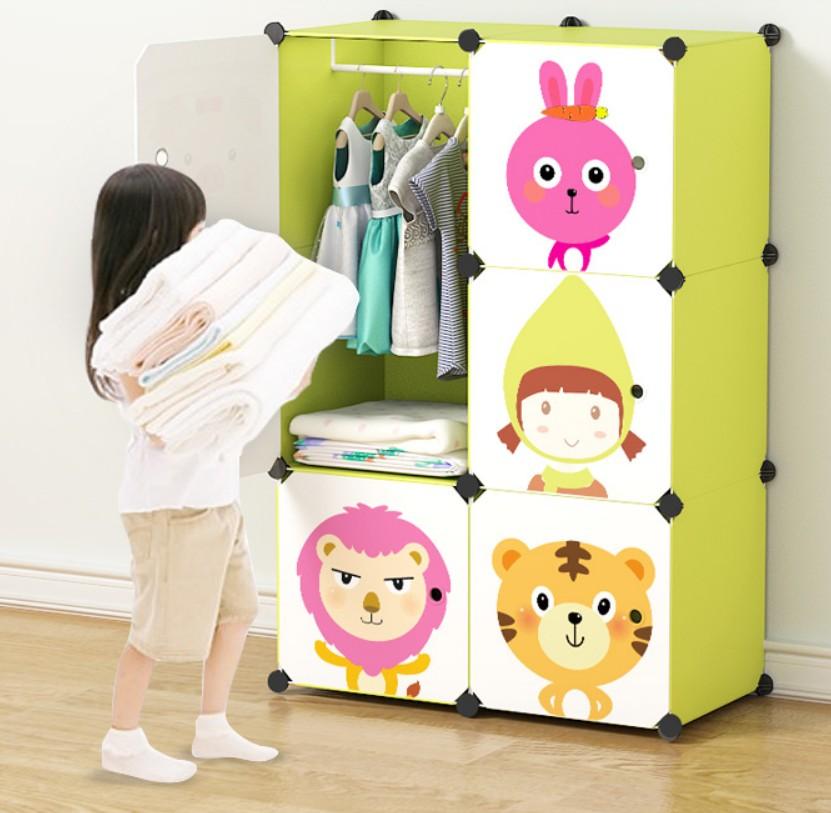 Cartoon PP Plastic Clothes Wardrobes Metal Kids Coat Cabinet Organizer Storage Home Children Bedroom Wardrobe Furniture B498