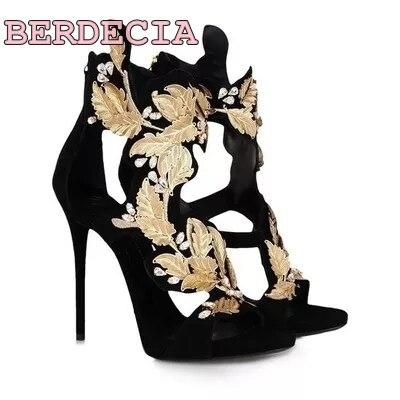 Üreges virágok arany levelek szandál új gyönyörű gyémántok ultra-luxus nyitott lábujj cipő nő szandál magas sarkú cipő igazi fotó