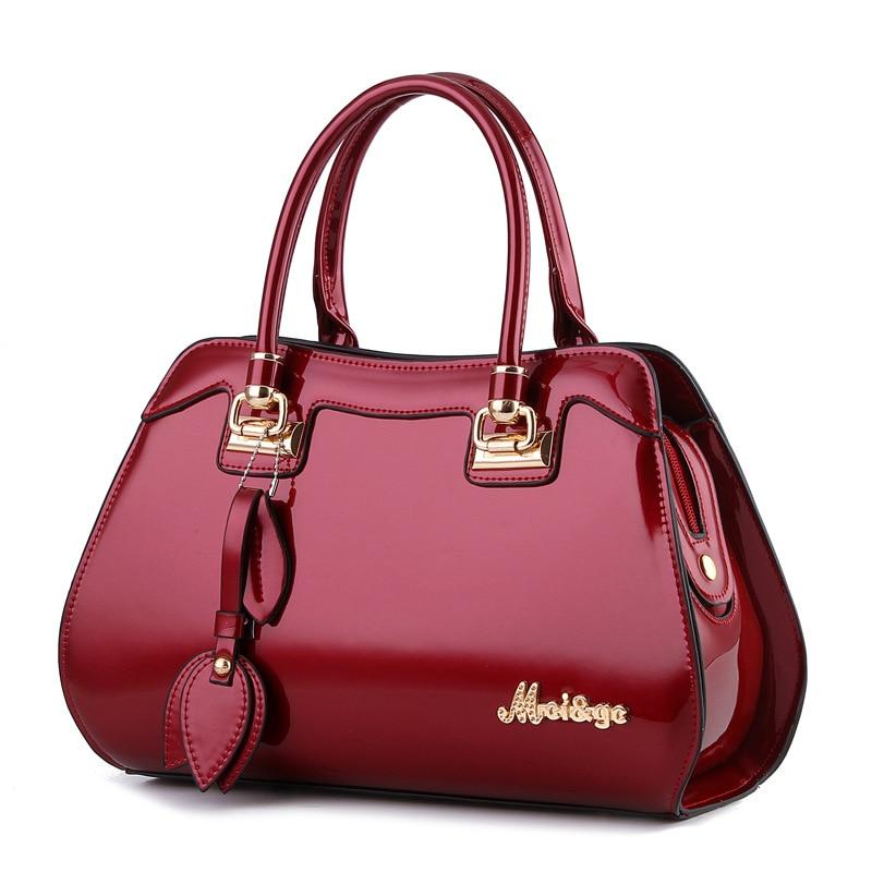 Ladies bag 2019 autumn and winter new luxury handbags women bags designer fashion bright leather large capacity handbag