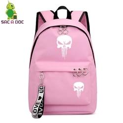 Punisher kobiet torby Mochila Escolar Feminina Plecak Szkolny Plecak Szkolny dziewczyny plecaki panie książka torby torba na laptopa torba na co dzień 5