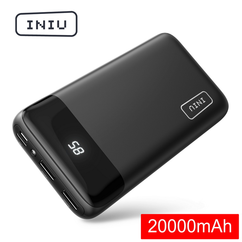 INIU 20000mAh 2.4A Power Bank 2 USB LED Display Portable Charger Powerbank For Xiaomi Mi Phone External Battery Pack Poverbank(China)