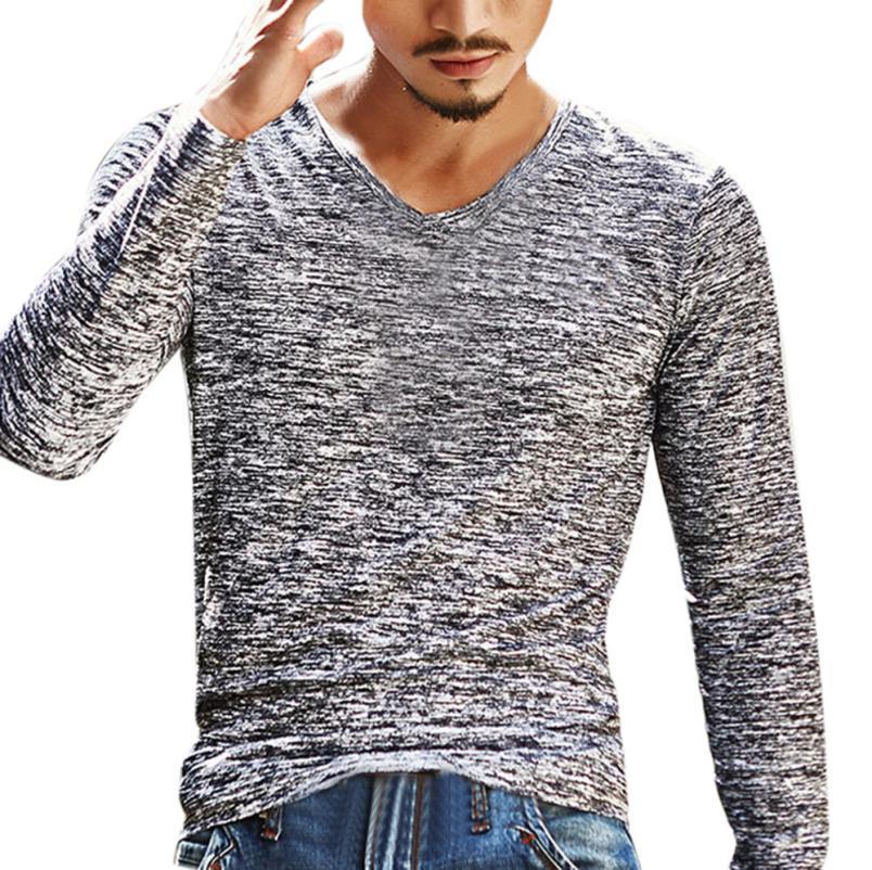 15# Мужская футболка с v-образным вырезом, футболка с длинным рукавом, хлопковая футболка для фитнеса размера плюс, Мужская Уличная футболка для спортзала - Цвет: Gray