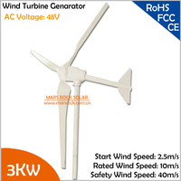 2.5m/s start wind speed 3.8m rotor diameter 3000W 48V 3 blades AC three phase horizental axis wind turbine generator