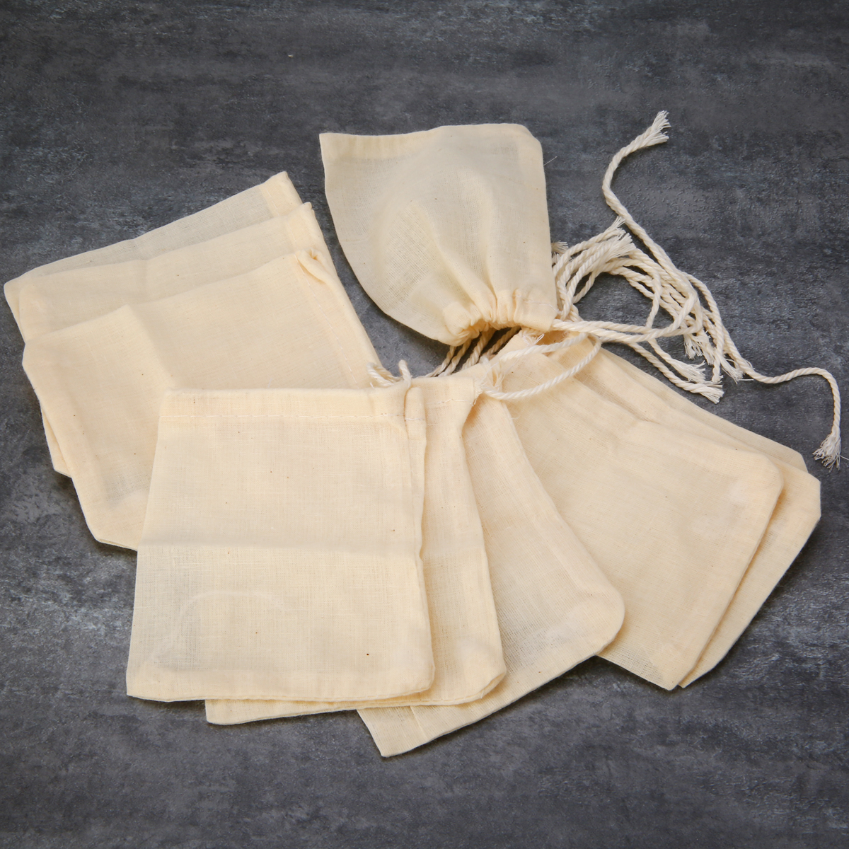 10pcs Cotton Teabags Strainer Tea Bags With String For Spice Food Separate Filter Bag 8 X 10cm