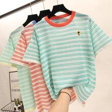 New Ice Silk Thin Summer Small Fresh Candy Color Striped Short Sleeve T Shirt Women Korean Cute Embroidery Tshirt   Streetwear цена