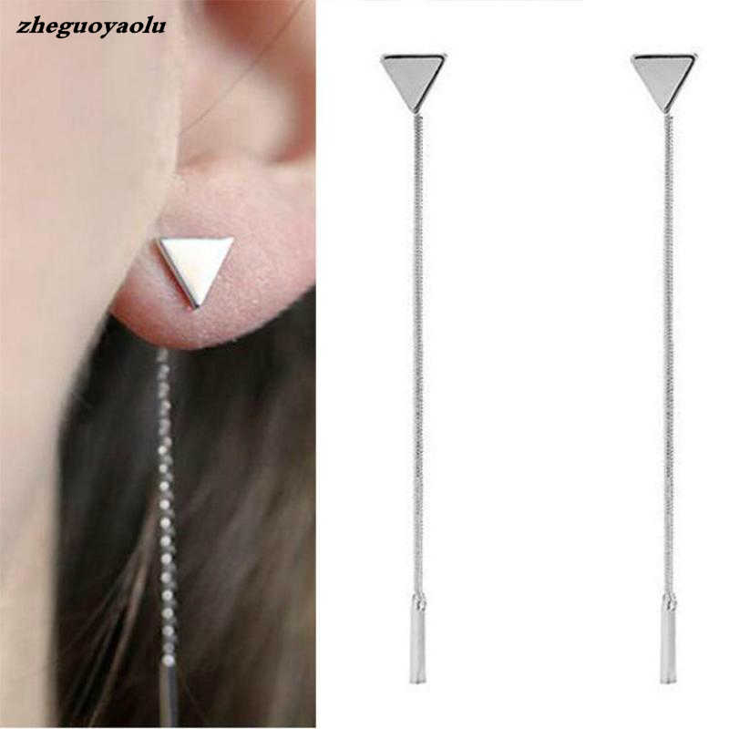 Mode Segitiga Anting Rumbai Rantai Anting anti-alergi Anting Kata Untuk Wanita Panjang Earrings Boucle D'oreille Femme 2017