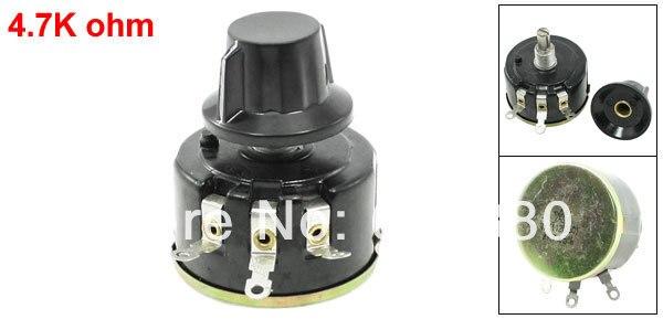 WX112 (050) 4.7 K 4K7 OHM 5% 5 W Rotary Single Turn Wire Wound Potenciômetro de Carbono Pot w Cap botão
