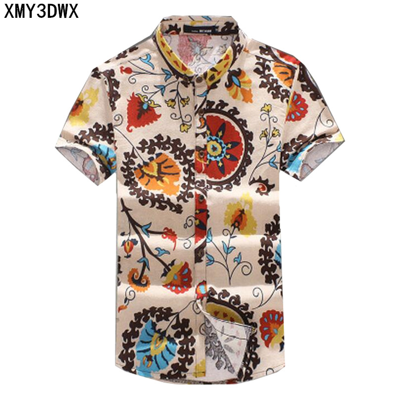 New 2018 Summer Men's Slim Casual Linen Printing flower short-sleeve shirts /Male flax fabric thin casual Pattern shirts