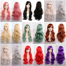 32inch/80cm Synthetic Hair Anime Long Curly Wig Purple Pink Blonde Brown Orange Grey Black Red Cosplay Wigs For Women