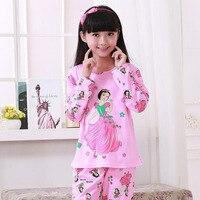 2016 Christmas Cartoon Print Kids Girl S Pajamas Set Pink Girls Pyjamas