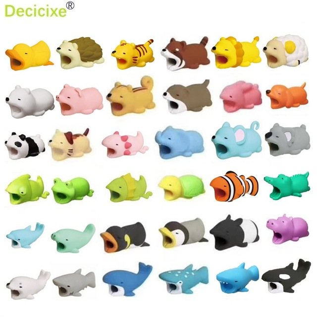 Cute Bite Cartoon Animal Cable Protector for iphone 8 X S Cord Protection Protective Cover USB