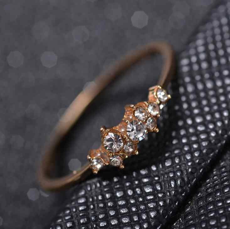 Anillos de ópalo de cristal de diamantes de imitación de Color dorado 6 de alta calidad /7/8/9/10 de tamaño