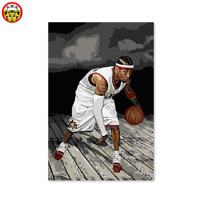 online store ff8bc 5ea9c US $9.0 50% OFF|DIY digital painting, NBA star Allen Iverson, guard  (doubles guard) The Answer American basketball team captain-in Paint By  Number ...