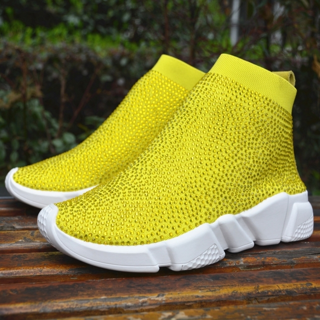 Myfitgo Platform Sneakers Women Knitted Shoes Woman Running Sport Breathable Shoes Blingbling Rhinestone Women Sneakers Femme