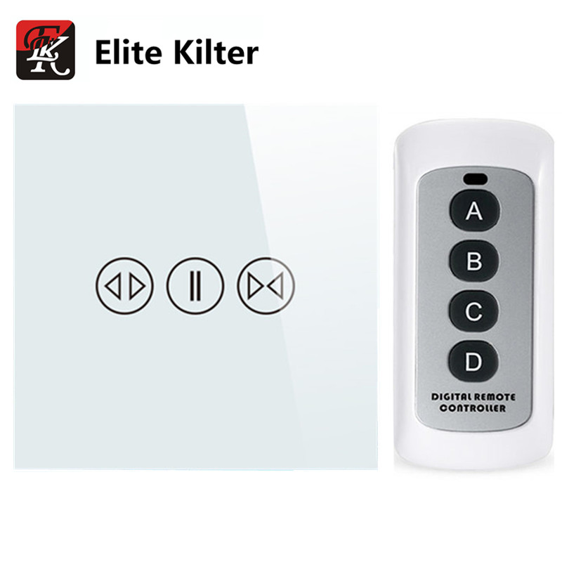 EU/UK Standard Tempered Galss Electric Touch Screen Curtain Switch With Backlight Display + Remote Control