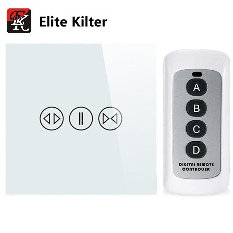 Interrupteur de rideau électrique à écran tactile en verre trempé Standard EU/UK avec rétroéclairage + télécommande