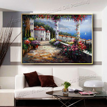 Hand Painted Abstract Modern Art Decor Trees Flower Oil Painting Palette Knife Canvas Wall Picture For Living Room (No Frame)