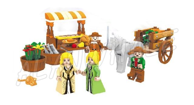 1722 pièces château série marché médiéval Village assembler bricolage modèle blocs de construction enfants cadeaux ensembles compatibles avec Lago