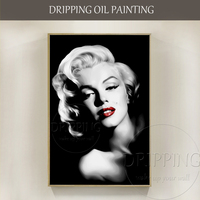 Artist Hand Painted Luxury Wall Art Black And White Art Marilyn Monroe Portrait Oil Painting Sexy
