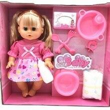 Muñeca renacida de 32 cm que parpadea para alimentar al agua potable y a la chica que habla muñeca bebé recién nacido l. o muñecas modelo l para regalo de niñas