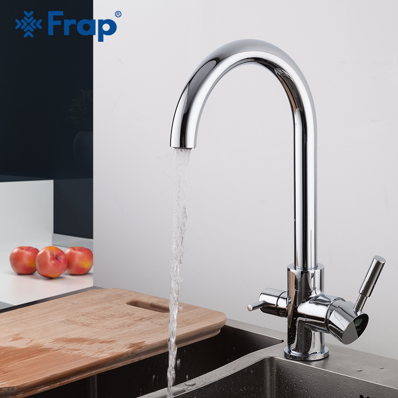 FRAP Kitchen Faucet Contemporary Chrome Plated Filter Drinking Water Faucet Kitchen Sink Faucet Cold And Hot Water Faucet Tap