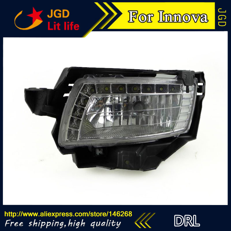 Free shipping ! 12V 6000k LED DRL Daytime running light for Toyota INNOVA 2009 2010 fog lamp frame Fog light chinese language learning book a complete handbook of spoken chinese 1pcs cd include