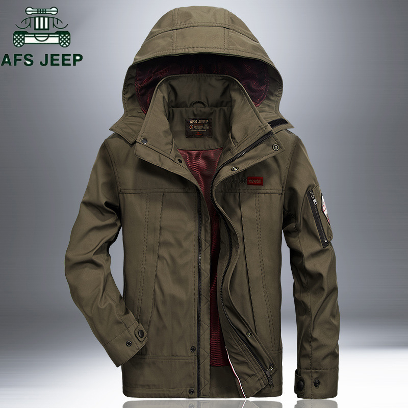 AFS JEEP Coupe-Vent Imperméable Militaire Veste Manteau 2018 Occasionnel À Capuche Printemps Automne Vestes Hommes Plus La Taille 4XL Coupe-Vent Manteau