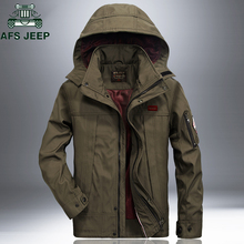 AFS JEEP Windproof Waterproof Military Jacket Coat 2018 Casual Hooded Spring Autumn Jackets Mens Plus Size 4XL Windbreaker Coat