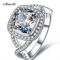 AINOUSHI 3 Carat Princess Cushion Cut NSCD Engagement Ring SONA Fine Jewelry Wedding Gift