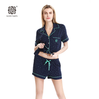 Women Soft Viscose Short Pajamas Suits NORA TWIPS 2017 New Arrival Star Print Satin Pajamas Set