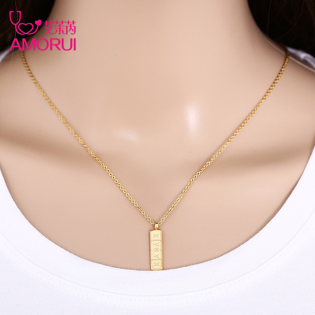 AMORUI Trendy Xanax Vertical Pill Bar Pendant Necklace ID Stainless Steel Women Chain Necklaces Rose Gold Silver Pendant Collier 4