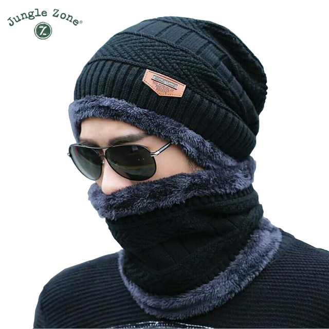 a3b7fbba11ab44 Black hat scarf two-piece cap Neck warm winter hat knitted Caps men Caps  men's