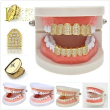 BOAKO Bling Gold Teeth Dental Grills Men Grillz Hiphop Tooth Cap Rapper grillz Set Man Iced Out Jewelry B5