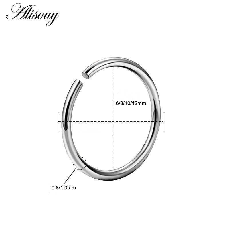 1 ชิ้น Simple ไทเทเนียมเหล็ก Hoop จมูกแหวนเจาะปลอม Septum แหวน Daith Helix Piercing Orbital เครื่องประดับ