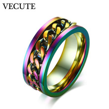 Fashion Men Ring Stainless Punk Rock Stell Chain Center Spinner Band Rings for Man Lovers