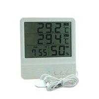 New Indoor Outdoor Temperature Meter Indoor Hygrometer Humidity Meter Gauge Alarm Clock Calendar With Temperature Sensor