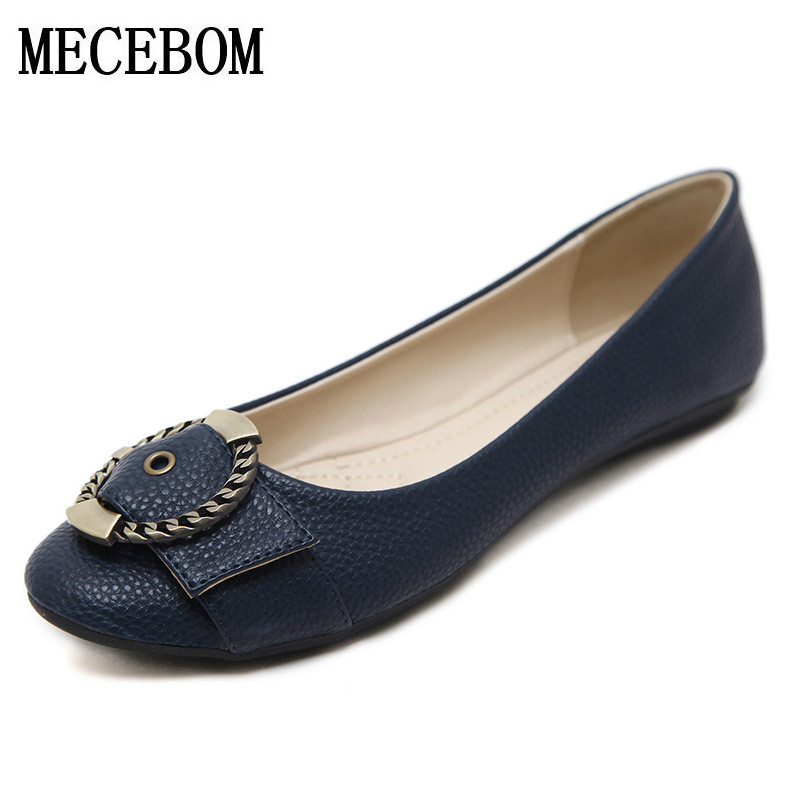2017 Plus Size Spring\Autumn Fashion Leather Woman Flats shoes woman casual shoes Work Bowknot Female Casual Ladies Shoes 1682W beyarne rivets decoration brand shoes flats women spring autumn fashion womens flats boat shoes sexy ladies plus size 11