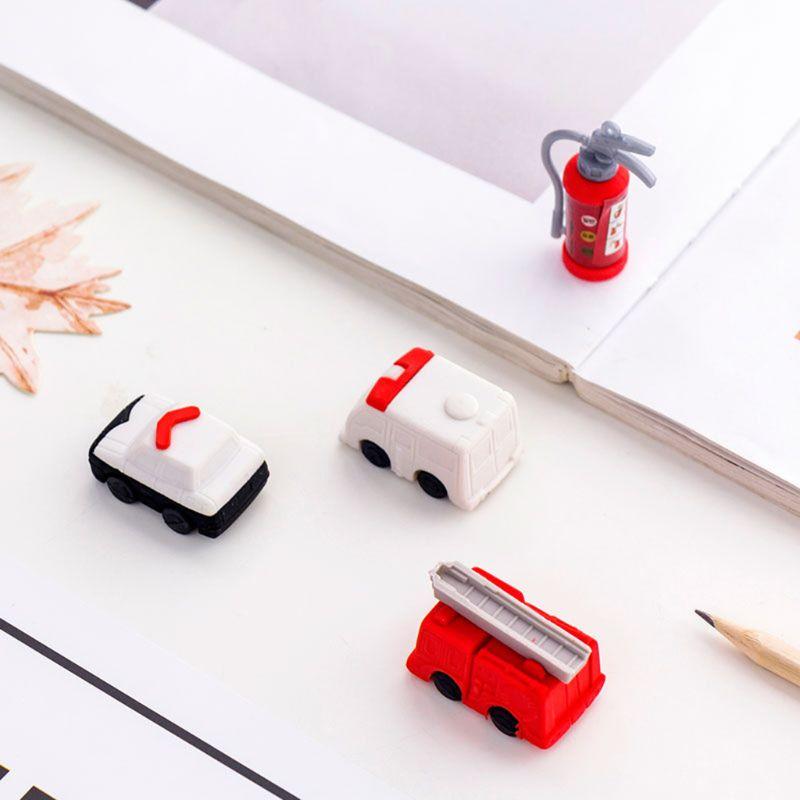 4pcs/set Fire Truck Extinguisher Rubber Eraser Kawaii Stationery School Supplies Correction Student Kids Gifts