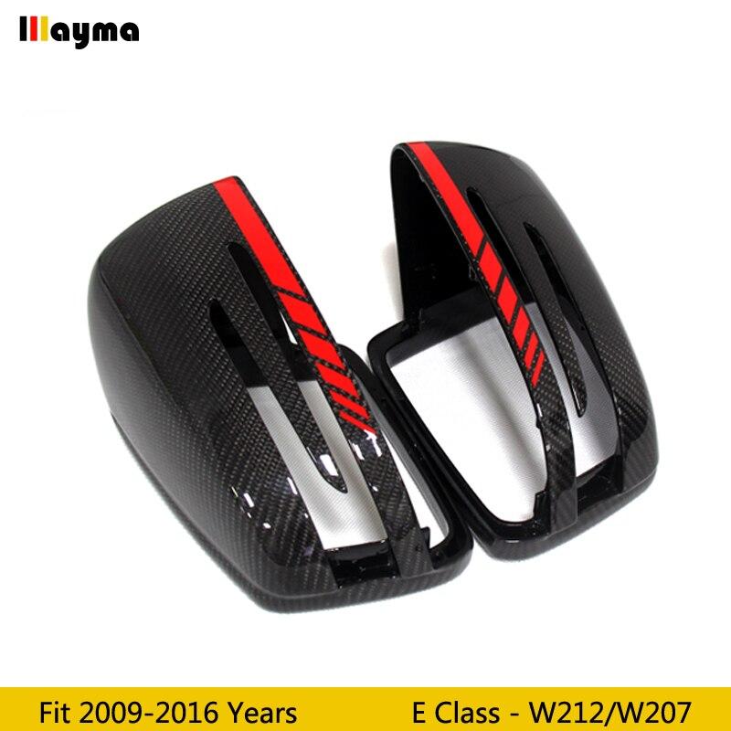 W212 AMG 赤ラインスタイル炭素繊維交換ミラーカバーベンツ E クラス E300 E400 2009 2016 年 w207 クーペリアミラーキャップ  グループ上の 自動車 &バイク からの 鏡 & カバー の中 1