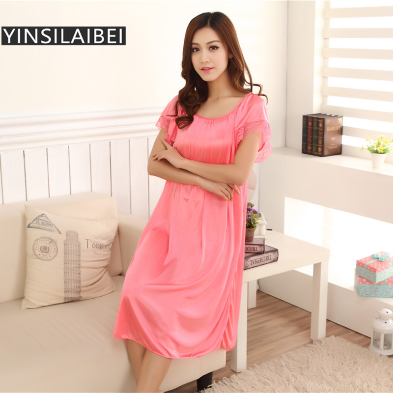 New Women Sleepwear Female Nightdress Long Ice Silk Satin Nightgown  Short-Sleeved Women s Home Clothes Plus-Size SR006 22 0e4ae777ace7