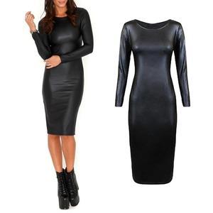 Женское облегающее платье-миди из искусственной кожи, облегающее удобное платье с длинными рукавами и круглым вырезом для ночного клуба, но...