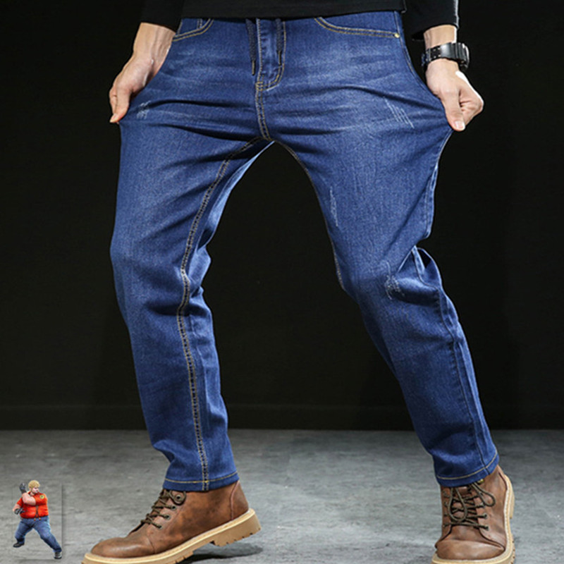 Elastic Loose Black   Jean   Men Calca Masculina Male Pants Blue Men's   Jeans   PLus Size 6XL 7XL Denim Trousers Hombre Korean Cowboys