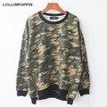 Mulheres Laterais Com Zíper Camouflage Camisola Crewneck Pullovers Soltas Fit Camo Imprimir Moletons Hiphop Streetwear