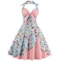 ZAFUL New Women Vintage Dress Big Size Ball Gown Floral Print Pin Up Summer Dress 60s