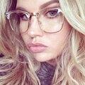 Half Frame Óculos Claros Claras Óculos de Armação de Miopia Mulheres Homens Armação de óculos de Lente Clara Ouro Vidro Óptico Luneta