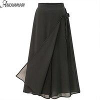 ANASUNMOON/летние женские брюки в европейском стиле, большие размеры 5XL, повседневные свободные шифоновые укороченные брюки, черные широкие женс...
