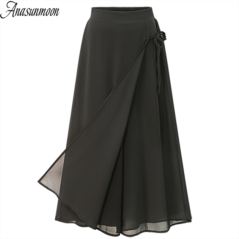 ANASUNMOON Summer European Style Plus Size 5XL Women Trousers Casual Loose Chiffon Calf- Length Pants Black Wide Leg Ladies Pant