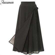 ANASUNMOON Summer European Style Plus Size 5XL Women Trousers Casual Loose Chiffon Calf- Length